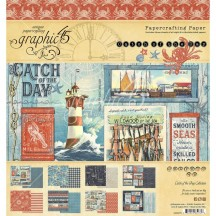 "Graphic 45 Catch of the Day Designer 8""x8"" Paper Pad 4502175"