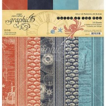 "Graphic 45 Catch of the Day Patterns & Solids 12""x12"" Paper Pad 4502177"