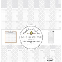 """Doodlebug Daily Doodles Lily White Calendar Sheets 12""""x12"""" Paper Pack 4939"""