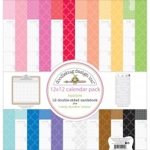 "Doodlebug Rainbow Daily Doodle Calendar 12""x12"" Paper Pack 4940"