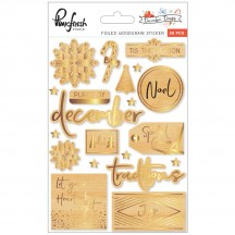 Pinkfresh Studio December Days Foiled Woodgrain Christmas Stickers PFRC500517