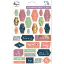 Pinkfresh Studio Indigo Hills 2 Gold Foil Wood Veneer Stickers PFRC500618