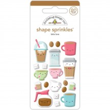 Doodlebug Cream & Sugar Latte Love Shape Sprinkles Enamel Shapes 5456