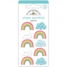 Doodlebug Fairy Tales Happy Skies Rainbow & Clouds Shape Sprinkles Enamel Shapes 5549
