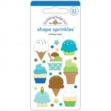 Doodlebug Dragon Tails Birthday Treats Shape Sprinkles Enamel Shapes 5553
