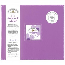 """Doodlebug Lilac D-Ring 12""""x12"""" Faux Leather Storybook Scrapbooking Album 5723"""