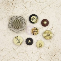 Prima Marketing Time Traveler's Memories Flair Buttons & Clear Stamp 572686