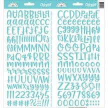 Doodlebug Design Swimming Pool Aqua Abigail Font Cardstock Alpha Stickers 5815