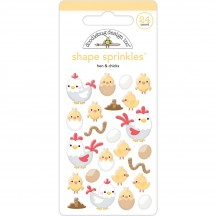 Doodlebug Down On The Farm Hens & Chicks Shape Sprinkles Enamel Shapes 5839
