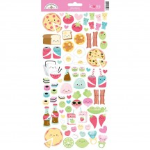 "Doodlebug So Punny Food 6""x12"" Icons Cardstock Stickers 5928"