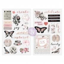 Prima Amelia Rose Self Adhesive Chipboard Accent Shape Stickers 596675