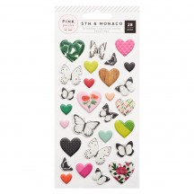Pink Paislee 5th & Monaco Heart & Butterfly Puffy Stickers 311029