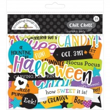 Doodlebug Pumpkin Party Chit Chat Die-Cut Halloween Cardstock Ephemera 6165