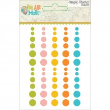 Simple Stories You Are Here Enamel Dots - aqua, yellow, orange, green, pink 6231