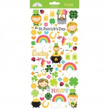 "Doodlebug Lots O' Luck 6""x12"" Icons Cardstock Stickers 6263"