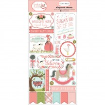 Carta Bella Rock-a-Bye Baby Girl Self Adhesive Chipboard Accent Shape Stickers CBRGB63022