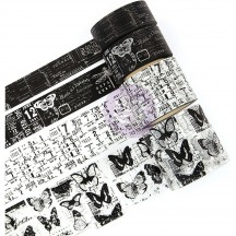 Prima Traveler's Journal Collector's Notes Black & White Washi Tape 630560