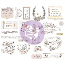Prima Pretty Pale Self Adhesive Chipboard Accent Shape Stickers 631901