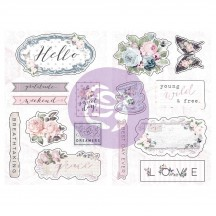 Prima Poetic Rose Self Adhesive Chipboard Accent Shape Stickers 631918