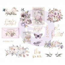 Prima Lavender Frost Self Adhesive Chipboard Accent Shape Stickers 634339