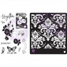 Prima Lavender Frost Cling Stamps & Stencil 634353