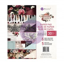"Prima Midnight Garden 6""x6"" Double-Sided Paper Pad 30 sheets 636012"