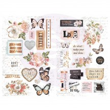 Prima Apricot Honey Self Adhesive Chipboard Accent Shape Stickers 641511