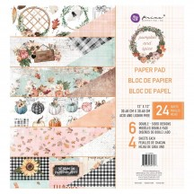 "Prima Pumpkin and Spice 12""x12"" Double-Sided Paper Pad 24 sheets 347766"