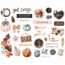 Prima Pumpkin and Spice Self Adhesive Chipboard Accent Shape Stickers 647810