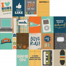 "Simple Stories So Rad 12""x12"" Double Sided Cardstock - 3x4 Elements 6510"