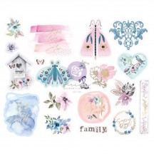 Prima Watercolor Floral Self Adhesive Chipboard Accent Shape Stickers 651459