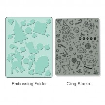 Sizzix & Hero Arts Textured Impressions Embossing Folder & Stamp - Merry Background 657770
