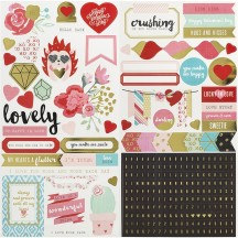 """We R Memeory Keepers 6""""x12"""" Accent & Phrase Valentine Stickers 660838"""
