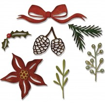 Sizzix Festive Greens Tim Holtz Alterations Thinlits Christmas Cutting Dies 662425
