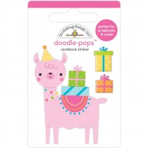 Doodlebug Hey Cupcake Party Llama Doodle-Pops Dimensional Sticker 6633