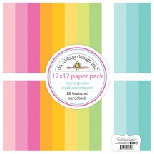 "Doodlebug Hey Cupcake Solid Textured 12""x12"" Cardstock Assortment 6694"