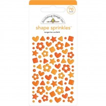 Doodlebug Tangerine Orange Confetti Shape Sprinkles Enamel Shapes 6705