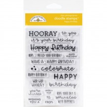 Doodlebug Happy Birthday Sentiment Doodle Stamps Clear Photopolymer Stamp Set 6732