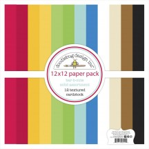 "Doodlebug Bar-B-Cute Solid Textured 12""x12"" Cardstock Assortment 6914"
