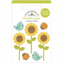 Doodlebug Pumpkin Spice Sunflowers Doodle-Pops Dimensional Sticker 6956