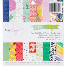 """American Crafts Dear Lizzy Stay Colorful 6""""x6"""" Paper Pad 346500 36 Sheets"""
