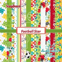 """Scrapberry's Football Star 6""""x6"""" Double-Sided Paper Pad 12 Sheets"""