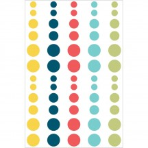 Simple Stories Life Documented Enamel Dots - yellow, blue, coral, aqua, green 7031