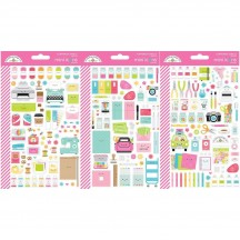 Doodlebug Cute & Crafty Mini Icons Cardstock Stickers 7262
