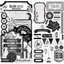 Bo Bunny Black Tie Affair Noteworthy Die-Cut Journaling & Accents Cardstock 7310146