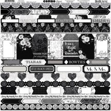 "Bo Bunny Black Tie Affair 12""x12"" Element & Border Combo Stickers 7310144"