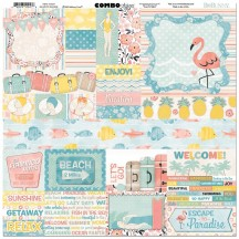 "Bo Bunny Escape To Paradise 12""x12"" Element & Border Combo Stickers 7310247"