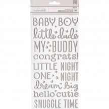 Pebbles Night Night Boy Silver Foil Foam Baby Phrase Thickers 732673