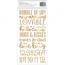 Pebbles Night Night Girl Gold Foil Foam Baby Phrase Thickers 732680