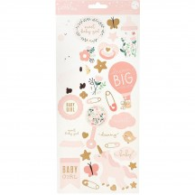 """Pebbles Night Night Girl Baby 6""""x12"""" Accent Stickers 2 sheets 732745"""